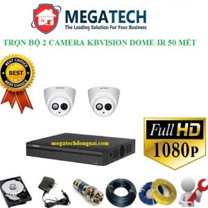 trọn bộ 2 camera Kbvision dome full hd