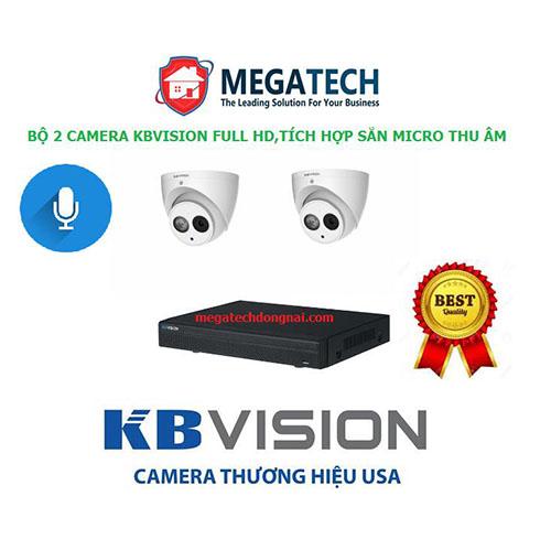 Bộ 2 camera Kbvision 2.0 Megapixel tích hợp sẵn micro giúp thu lại âm thanh