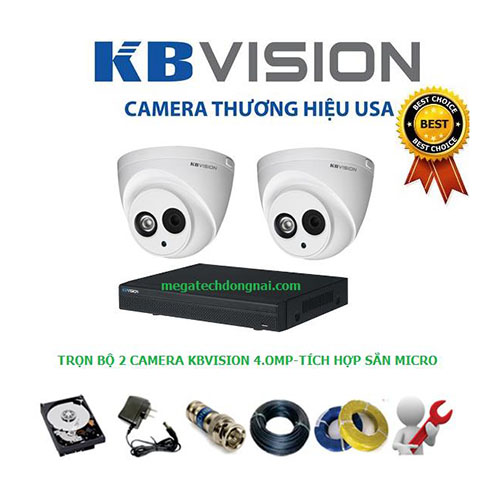 Trọn bộ 2 Camera Kbvision 4.0MP (Dome)