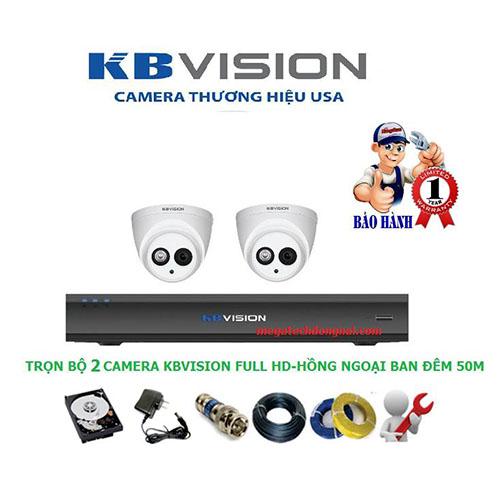 Trọn bộ 2 Camera Kbvision Full HD 2.0 MP