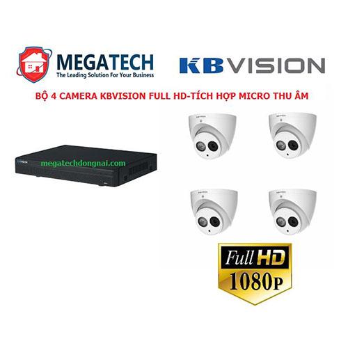 Bộ 4 Camera Kbvision 2.0 Megapixel tích hợp sẵn micro giúp thu lại âm thanh