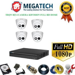 Trọn bộ 4 camera kbvision full HD Dome