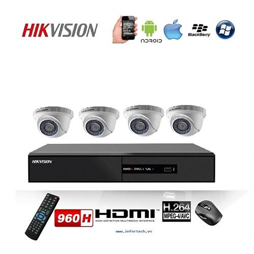 Trọn bộ 4 Camera Hikvision HD