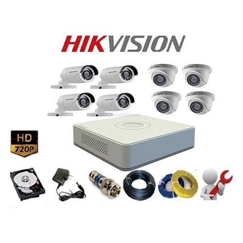 Trọn bộ 8 Camera Hikvision HD (1.0MP)