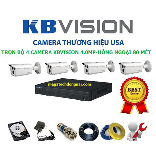 Trọn bộ 4 Camera Kbvision 4.0MP