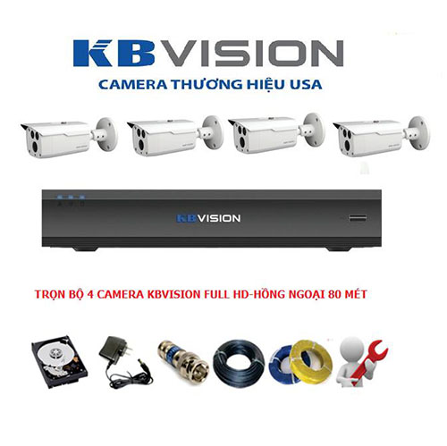 Trọn bộ 4 Camera Kbvision FULL HD 2.0 MP