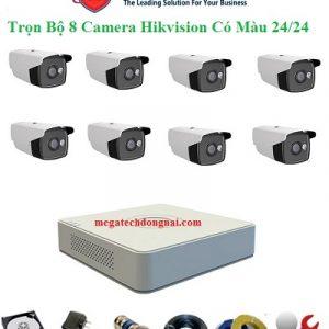 trọn bộ 8 camera hikvsion có màu 24/24