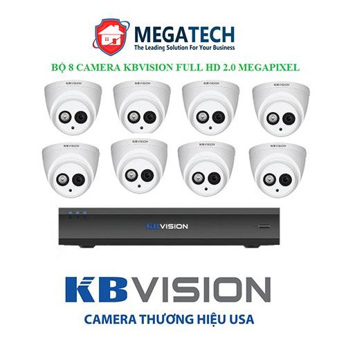 Trọn bộ 8 Camera Kbvision Full HD 2.0 MP
