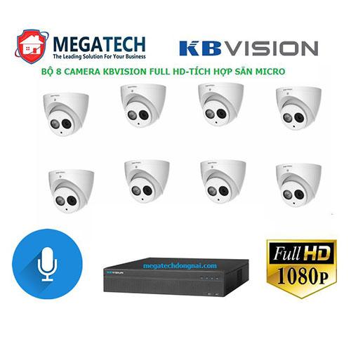 Bộ 8 camera Kbvision 2.0 Megapixel tích hợp sẵn micro giúp thu lại âm thanh