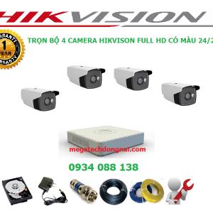 trọn bộ 4 camera Hikvsision có màu 24/24