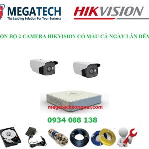 trọn bộ 2 camera hikvision có màu cả ngày và đêm