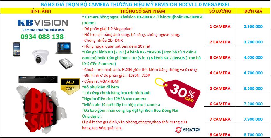 trọn bộ camera hd-cvi kbvision 1.0 megapixel
