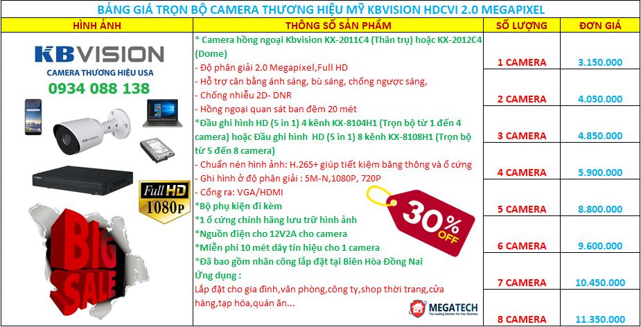 trọn bộ camera hd-cvi kbvision 2.0 megapixel