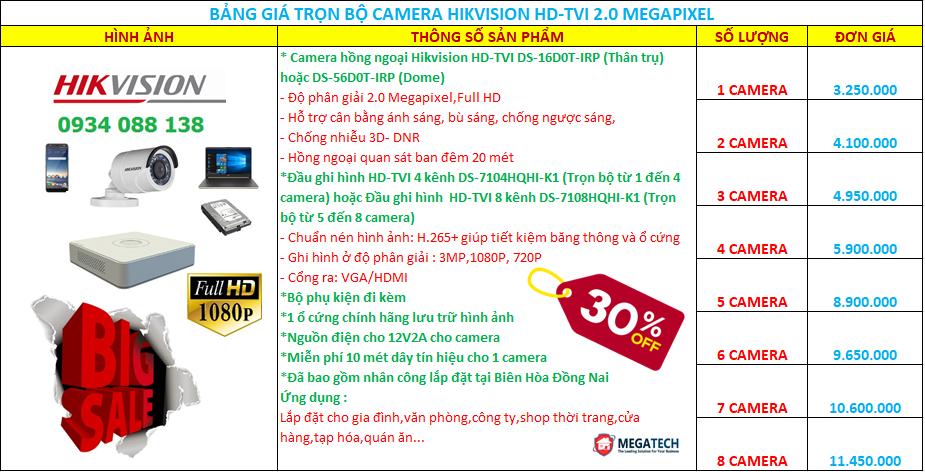 trọn bộ camera Hikvision hd-tvi 2.0 megapixel